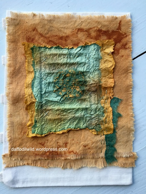 rust dyed fabric and joomchi, textile art